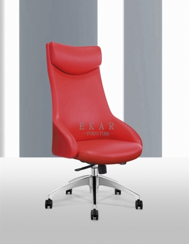 Latest Designs Head Support Red Leather Chair Office Furniture