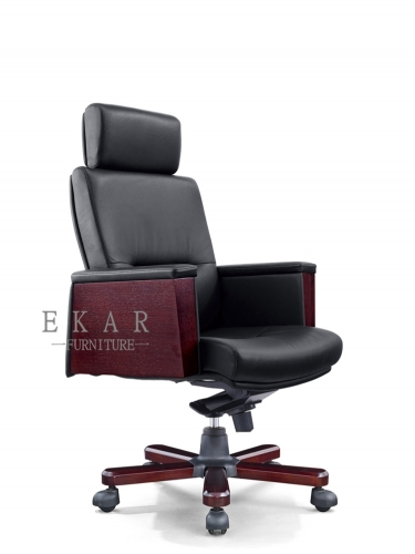 High-end Black Adjustable Boss Office Chair Leather