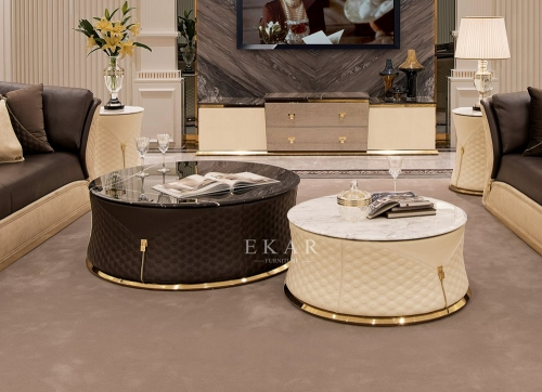 Black And White Leather Marble Top Round Coffee Table