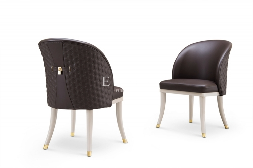 European Upholstered Wooden Leather Dining Chair