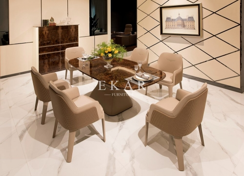 Popular Design of Furniture Store Veneer High Gloss Dining Table