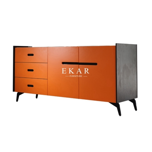 Orange Ash Wood Modern Marble Top Dining Room Sideboard