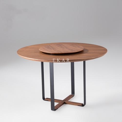 Metal Frame Round Wood Dining Table With Rotating Centre
