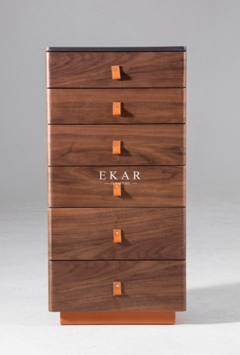 6 Drawer Walnut Modern Wood Drawer Chest