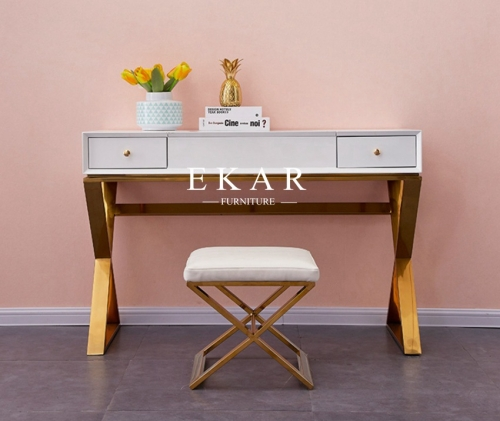 Metal Frame White Dressing Table With Storage