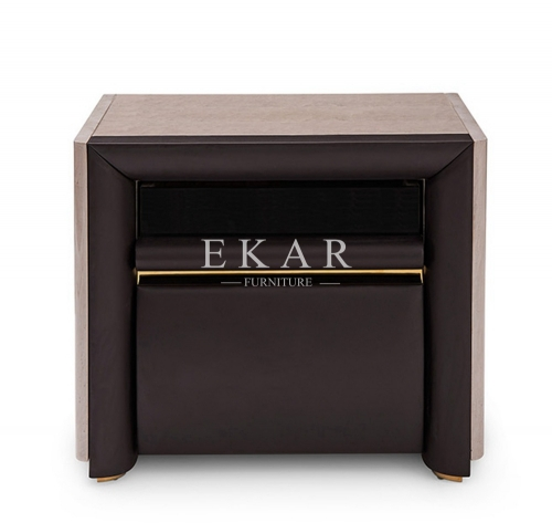 Contemporary Deluxe Veneer Leather Nightstand
