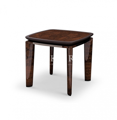 Veneer And Leather High End Corner Table