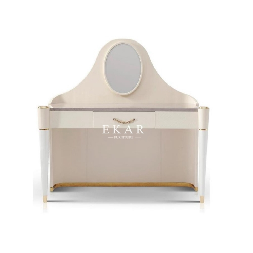 White Leather Elegant Bedroom Dressing Table With Mirror