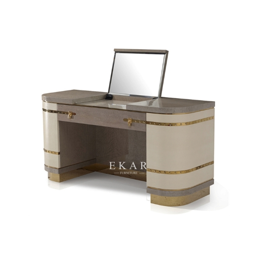 Metal Base Luxury Design Leather Dressing Table