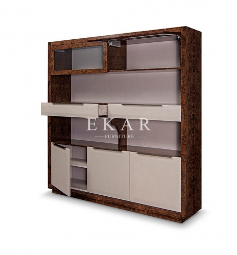 Modern Luxury High Gloss Leather Bookcase