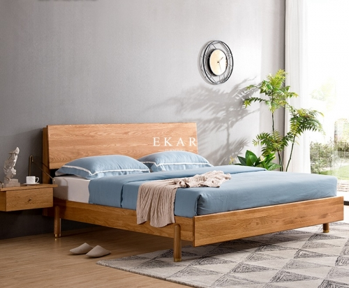 White Oak Wooden Frame Nordic Style Bedroom