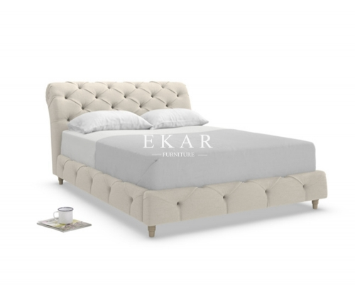 Modern European Style Fabric Wooden Bed Frame
