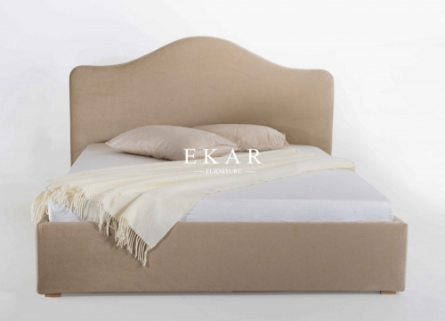 Fabric Cushion Headboard Latest Design Wooden Bed Mode
