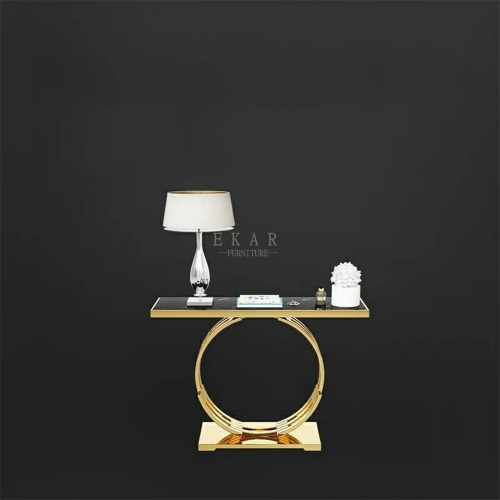Modern Gold Hallway Marble Top Console Table